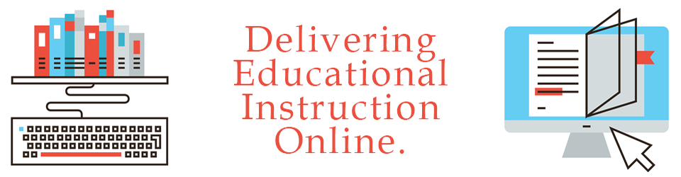 school graphic with text: delivering educational instruction online